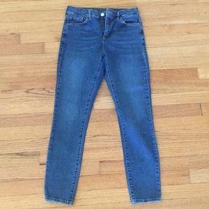 High waisted skinny blue jeans